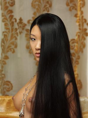 Asian Mariko A in White Stockings fro Metart - 04