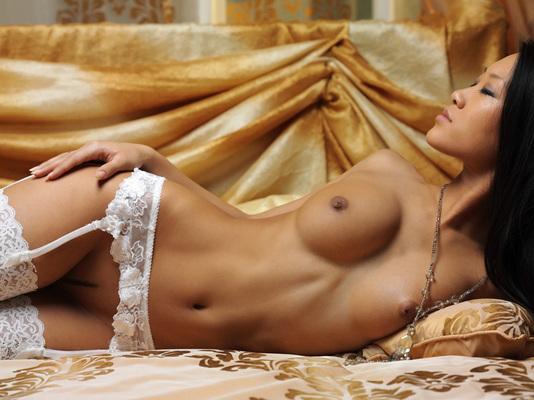 Asian Mariko A in White Stockings fro Metart - 06
