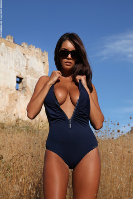 Busty Brunette Babe Ela Topless in Summer Country for Photodromm - 01