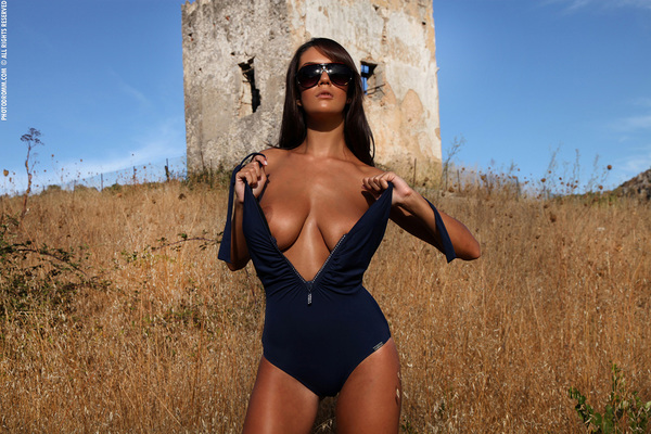 Busty Brunette Babe Ela Topless in Summer Country for Photodromm - 02