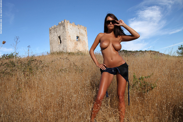 Busty Brunette Babe Ela Topless in Summer Country for Photodromm - 04