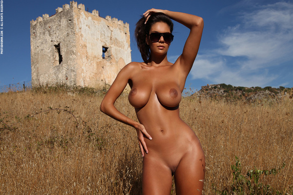 Busty Brunette Babe Ela Topless in Summer Country for Photodromm - 05