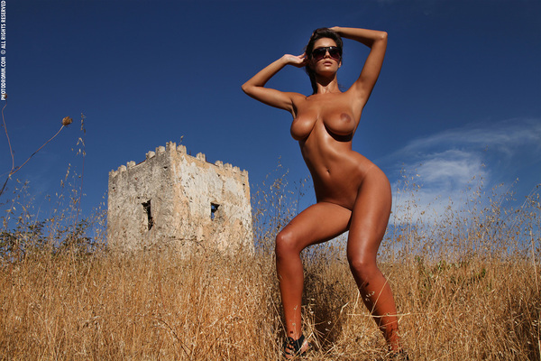 Busty Brunette Babe Ela Topless in Summer Country for Photodromm - 06