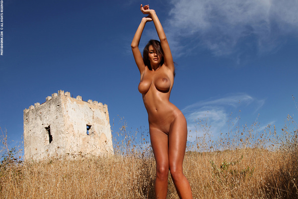 Busty Brunette Babe Ela Topless in Summer Country for Photodromm - 07