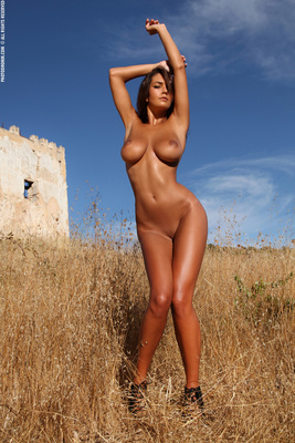 Busty Brunette Babe Ela Topless in Summer Country for Photodromm - 08