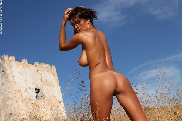 Busty Brunette Babe Ela Topless in Summer Country for Photodromm - 11