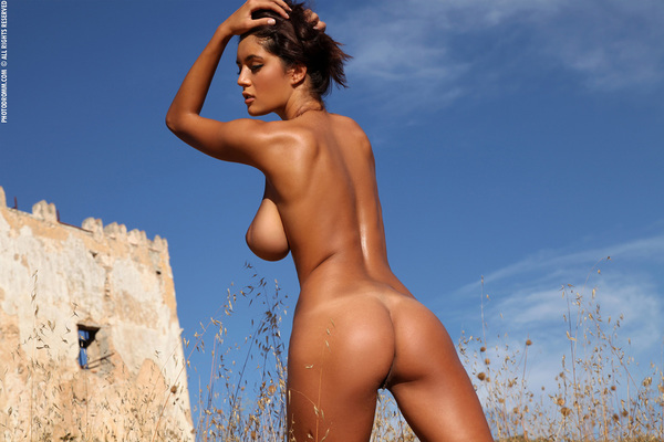 Busty Brunette Babe Ela Topless in Summer Country for Photodromm - 12