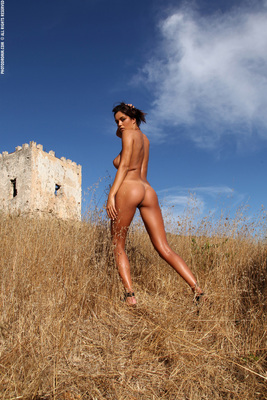 Busty Brunette Babe Ela Topless in Summer Country for Photodromm - 13