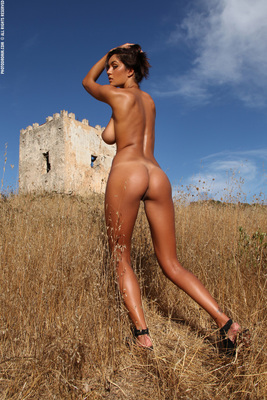 Busty Brunette Babe Ela Topless in Summer Country for Photodromm - 14