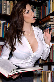 Sexy Library Milf Jordan Carver stripping out of her White Shirt
