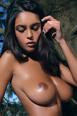 Busty Brunette At The Lake For Photodromm