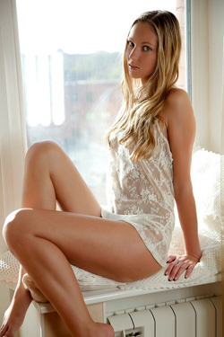 Slim Blonde In White Lingerie